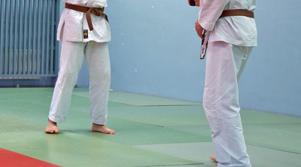 Reigando Budo, Turku, jujutsu, vyötekniikkaleiri, budopukuinen mies uhkaa toista harjoitusaseella